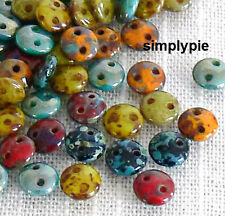 Lentil Picasso Mix CzechMates 6mm 50 Two Hole Czech Glass Beads New Arrivals