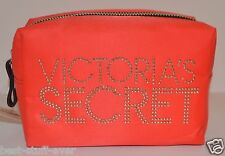 VICTORIA'S SECRET BRIGHT RED SILVER STUD MAKEUP COSMETIC CASE TRAVEL BAG CLUTCH