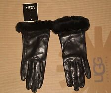 UGG Australia Women's LEATHER SMART GLOVE Black MEDIUM NWT MSRP $115