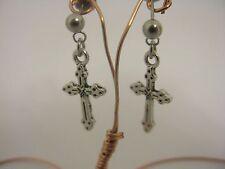 Filigrana Croce in Acciaio Inox Stud goccia pendenti orecchini