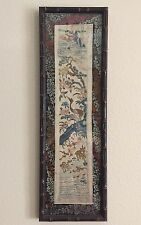 Antique Chinese Silk Stitch Embroidery Wall Frame Birds Antelope Cherry Blossom