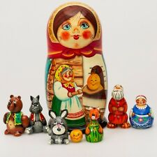 Wooden Matryoshka Nesting Doll Hand Painted Kolobok Russian Fairy Tale