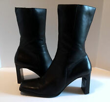 """Womens Black Leather Boots Mid Calf Sz 8 1/2 Side Zip 3"""" Heel WORN ONCE Madeline"""