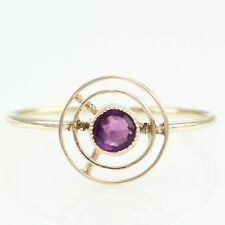 10K Gold Amethyst Converted Stick Pin Ring Size 8 ANTIQUE February Birthstone