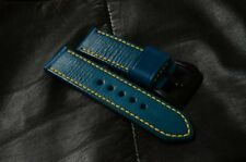 handmade blue 24mm leather watch strap Pre-v screw-in buckle fits Panerai