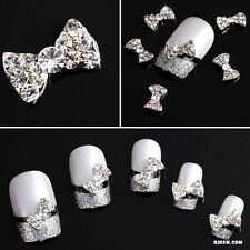 10pcs 3D Clear Alloy Rhinestone Bow Tie Nail Art Slices DIY Decorations for Girl