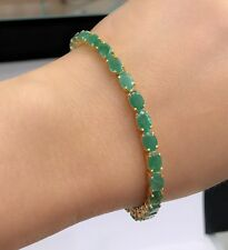 14k Solid Gold Tennis Bracelet, Natural Oval Emerald 7Inches, 14.5TCW