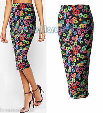 Womens Floral Casual Party Club Tight Slim Fit Stretch Midi Pencil Skirts MEDIUM