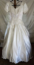 "Satin Ball Gown Wedding Gown, Alfred Angelo, 32"" W, 40"" B, 78"" Chapel Length Tra"