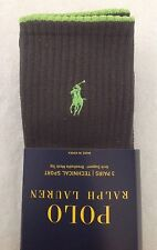 Polo Ralph Lauren Socks~3 Pack~Black Gray w Red/Yellow/Green~Technical Sport~NWT