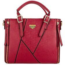 Red Faux Leather Women Handbag Tote Crossbody Messenger Shoulder Bag Satchel