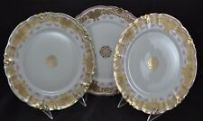 L.S&S Limoges Setof 3 Double Gold Plates Encrusted Rose Swags Snowflake