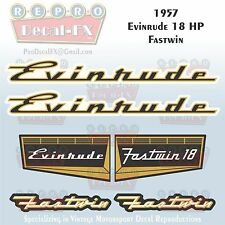1957 Evinrude 18 HP Fastwin Outboard Repro 6 Pc Marine Vinyl Decals 15020-15021
