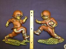 Vintage Chalkware Wall Hanging Decorations Art Football Players Boys Plaques Lot