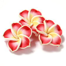 30pcs Red&Yellow Cute Flower FIMO Polymer Clay Spacer Beads Jewelry Ornaments BS