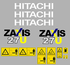 HITACHI ZAXIS 27U MINI DIGGER COMPLETE DECAL SET WITH SAFETY WARNING SIGNS