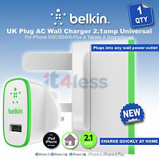 Belkin  2.1amp AC USB Wall Charger For iPhone Samsung Galaxy Nokia Lumia HTC LG