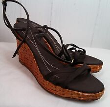 Kate Spade brown straw weave wedge heel open toe strappy Sandal Shoes size 10 B