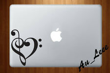 Macbook Air Pro Vinyl Skin Sticker Decal Music Bass Clef Love Heart Symbol M866