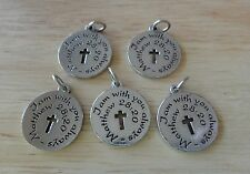 5 Pewter say I am with you always Matthew 28:20 Cross Memory Grief Funeral Charm