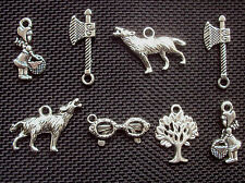 8 Assorted Little Red Riding Hood Silver Tone Metal Charms