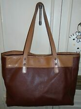 Designer FOSSIL Brown Leather Tote Shopper Shoulder Bag Handbag Purse Large