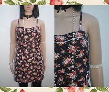 BNWOT 'RACHAEL & CHLOE' 50s 80s VINTAGE STYLE BLACK FLORAL SUNDRESS UK-SMALL