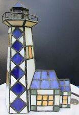 "Vintage Colorful Stained Glass Miniature Lighthouse Lamp 9"" Tall"