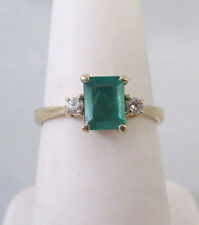 14K YELLOW GOLD 6.5mm X 5mm NATURAL EMERALD & DIAMOND ACCENT RING Sz 6.5