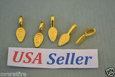 100 Glue-On Pendant Bails, Jewelry Making, 24K Gold Plated, Glue On Style, USA!