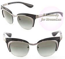 PRADA DIXIE Women Cat Eye Sunglasses PR 68OS 5AV-3M1 Silver Black Gradient