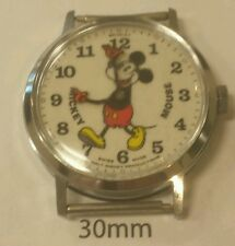 Early Version Vintage Pie Eyed Tall Slim Mickey Mouse Watch From Early 1970s.