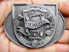 Vtg GIBSON GUITARS Belt Buckle 1984 Prestige 1995 Guitar HEAD Pewter RARE VG++