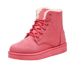 Women Lady Winter Warm Martin Flat Ankle Snow Boot Thicken Suede Fur Casual Shoe