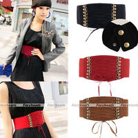 Fashion Women Elastic Rivet High Waist Wide Belt Buckle Waistband Corset Gift
