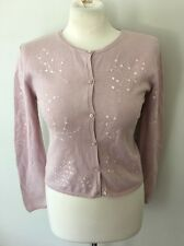 Moschino Cheap and Chic Light Pink Cotton Cardigan Sweater W/ Sequin Detail Sz 6