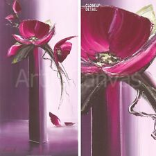 "19""x39"" ELEGANCE EN MAUVE I by OLIVIER TRAMONI PURPLE FLOWERS TALL VASE CANVAS"