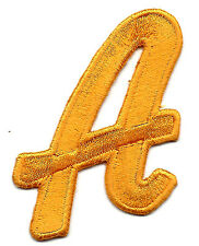 """LETTERS - Golden Yellow Script  2"""" Letter """"A"""" - Iron On Embroidered Applique"""