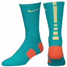 Nike Elite Basketball Crew Socks - Green Orange - Size L 8-12  - SX3693-388