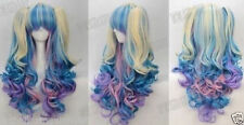 NEW Gothic Lolita Wig + 2 Pig Tails Set Pastel Rainbow Mix Blend Cosplay