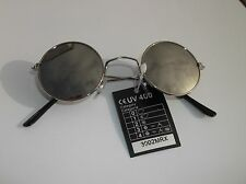 Lennon Silver Mirrored Silver Frames Sunglasses Round  Steampunk Hippy Glasses