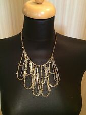 BCBG BCBGeneration Silver Gold Tome Chains Champagne Rhinestones Necklace NWOT