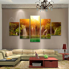 5pcs HD Unframed Canvas Waterfall Wall Art Oil Painting Picture Print Home Decor