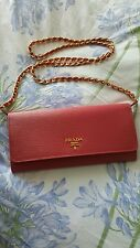 New Prada Saffiano Wallet on a Chain / WOC Crossbody - Pink (Peonia)