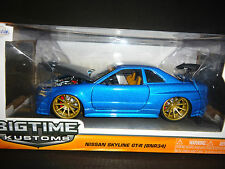 Jada Nissan Skyline GT-R R34 BN-R34 Custom Blue with carbon fiber hood 1/24