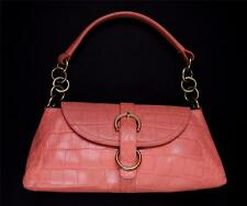 FURLA Italy Coral Pink Croc Embossed Leather Women's Hand Shoulder Bag EUC
