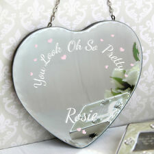 'Oh So Pretty...' Personalised Heart Hanging Mirror - Birthday For Her Gift