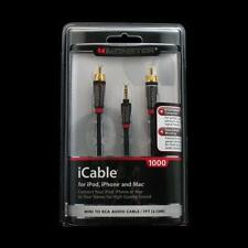 Monster iCable 1000 3.5mm to RCA Adapter Y Mini Stereo AUX Cable 7' Feet NEW O32