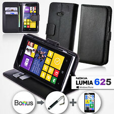 NEW Premium Leather Stand Wallet Flip Case Cover For Nokia Lumia 625 Bundle