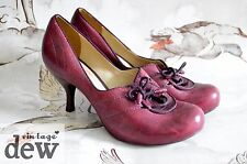 1940'S heels 1930's size 5.5 CLARKS vintage lace up LOUIS HEELS burgundy red